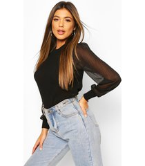 knitted pointelle sheer sleeve top, black