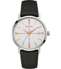 bulova men's black leather strap watch 39mm 98b254