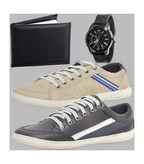 kit sapatenis casual masculino dexshoes com relógio e carteira