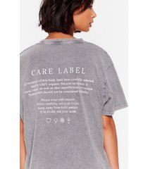womens handle with care label graphic tee - grey
