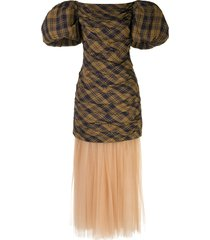 khaite shelly puffed-sleeves petticoat dress - brown