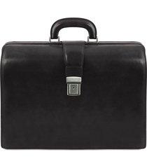 tuscany leather tl141347 canova - borsa medico in pelle 3 scomparti nero