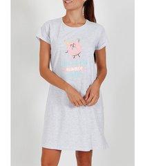 pyjama's / nachthemden admas soy mi fan n1 grijs nachthemd met korte mouwen