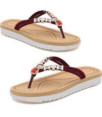 sandalias de verano para mujer sandalias de playa con cuentas de diamantes de imitación chanclas de tacón plano