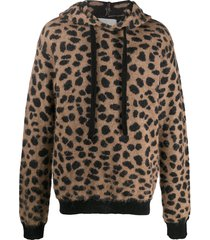 laneus animal-print knitted hoodie - brown