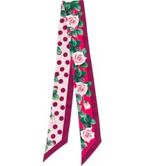 dolce & gabbana tropical rose print slim scarf - purple