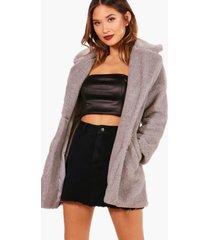 faux fur teddy coat, grey