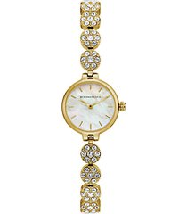 classic goldtone stainless steel, mother-of-pearl & crystal bracelet watch