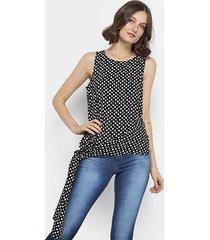 blusa top moda poá laço lateral feminina