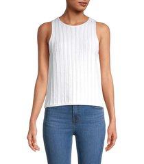 vince women's braided stitch knit tank - optic white - size xs