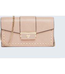 motivi portafoglio pochette con borchie e tracolla donna rosa
