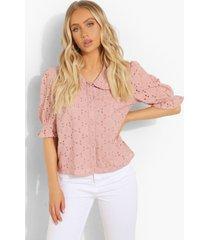 broderie blouse met pofmouwen, pink