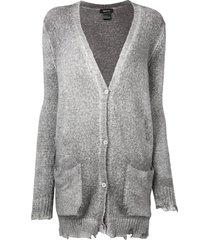avant toi distressed cardigan - grey