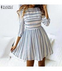 zanzea de vacaciones para mujer o partido del cuello del mini vestido del club del coctel de la cremallera de los vestidos de rayas -azul