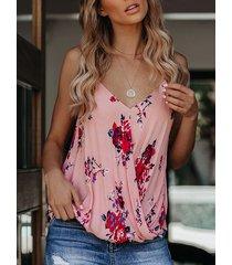 camiseta sin mangas con cuello en v y estampado floral al azar yoins