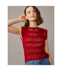 amaro feminino regata tricot franjas, vermelho