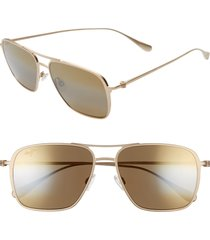 men's maui jim beaches polarizedplus2 57mm navigator sunglasses - satin gold/ bronze