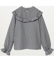 geruite blouse met ruches