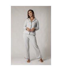 pijama feminino comfy manga longa cinza