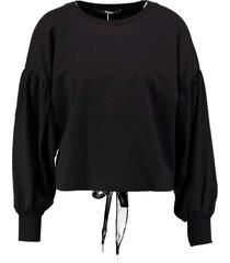 guess korte zwarte oversized sweater vetersluiting rug