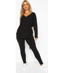 plus soft rib top & legging co-ord, black