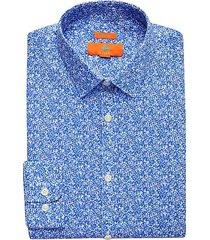 egara orange men's blue floral extreme slim fit dress shirt - size: 17 32/33