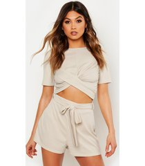 twist front rib top & belted shorts co-ord, stone