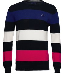 cotton pique multistripe gebreide trui met ronde kraag blauw gant