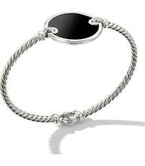 david yurman elements bracelet with pave diamonds, size medium in black onyx/silver at nordstrom