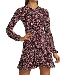 no. 21 printed long-sleeve fit & flare dress - red multi - size 38 (2)