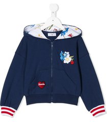 monnalisa floral embroidered zipped front hoodie - blue