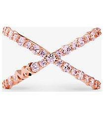 mk anello oversize in argento sterling placcato oro rosa14k con pavé - oro rosa (oro rosa) - michael kors