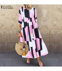 zanzea mujeres vintage retro bohemio impreso largo maxi kaftan vestido floral para damas -rosado