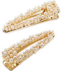 inc gold-tone imitation pearl cluster hair clips, created for macy's