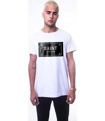 t-shirt thesaint c/ estampa cetim - gg - branco - unissex
