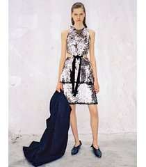 proenza schouler metallic sequin sleeveless cut out velvet bow dress gunmetal/grey 0