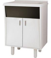 gabinete para lavanderia em mdf 60cm com tanque em mármore sintético branco - lavanda - cozimax - cozimax