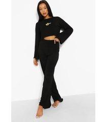 ofcl pyjama set met crop top en wide leg broek, black