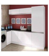 kit área de serviço madesa acordes glamy 100% mdf com armário e balcão de canto branco branco