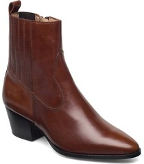 booties - block heel - with elas shoes boots ankle boots ankle boot - heel brun angulus
