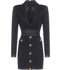 balmain buttoned viscose mini dress