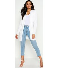 tall collarless duster jacket, ivory