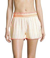 tessora women's livie embroidered shorts - white orange combo - size xs
