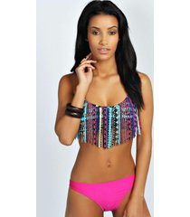 tassel front aztec print halter neck bikini, multi
