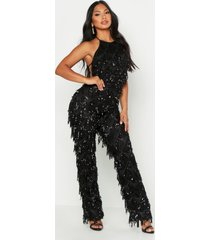 all over sequin low back jumpsuit