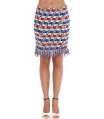 balmain fringed tweed 8 buttons skirt