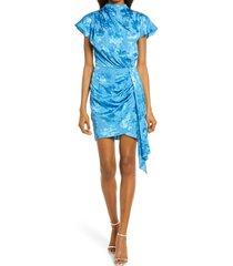 women's saylor cindylou satin jacquard cocktail dress, size x-small - blue