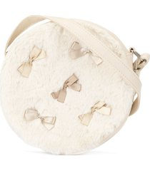 familiar faux fur circle shoulder bag - white