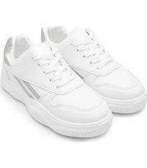 tenis blancos con franja plata color blanco, talla 38