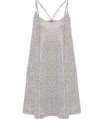 vestido lingerie jersey metálico redley - cinza